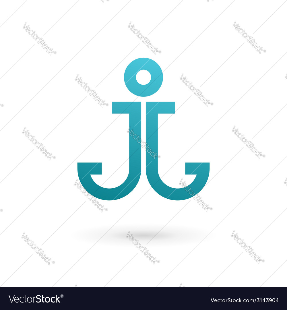 Letter j anchor logo icon design template elements vector | Price: 1 Credit (USD $1)