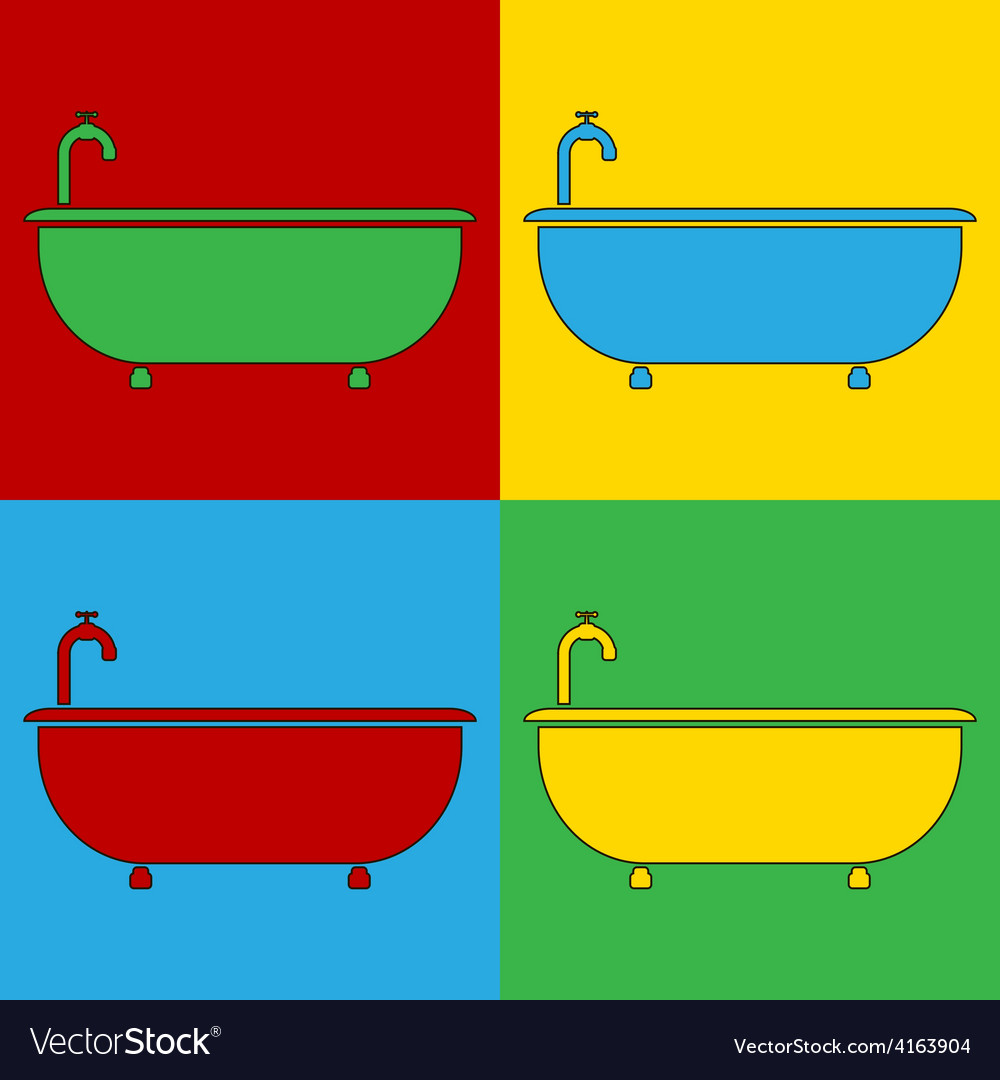 Pop art bathtub icons vector | Price: 1 Credit (USD $1)