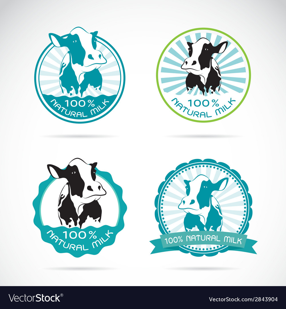 Set of an dairy cows label vector | Price: 1 Credit (USD $1)