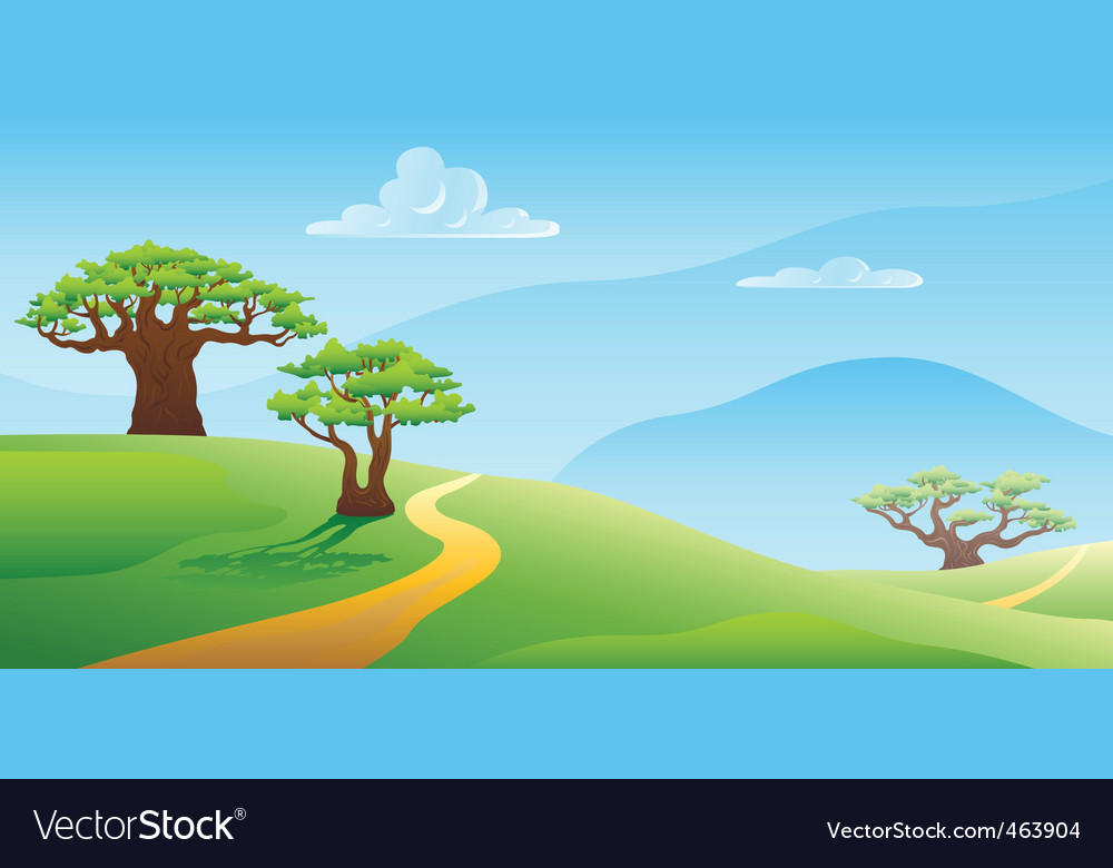 summer landscape vector illustration vector | Price: 1 Credit (USD $1)