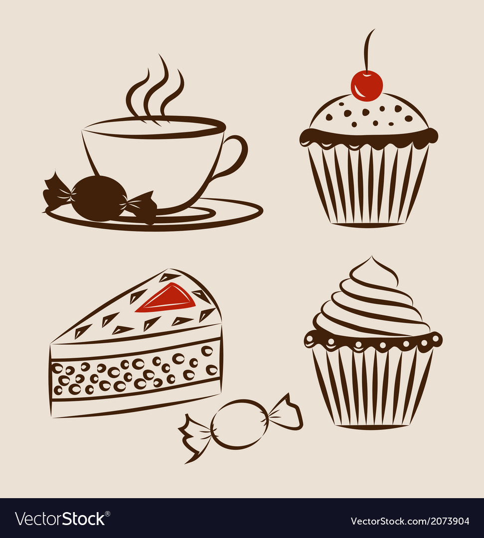 Sweet pastry set with cup of hot drink vector | Price: 1 Credit (USD $1)