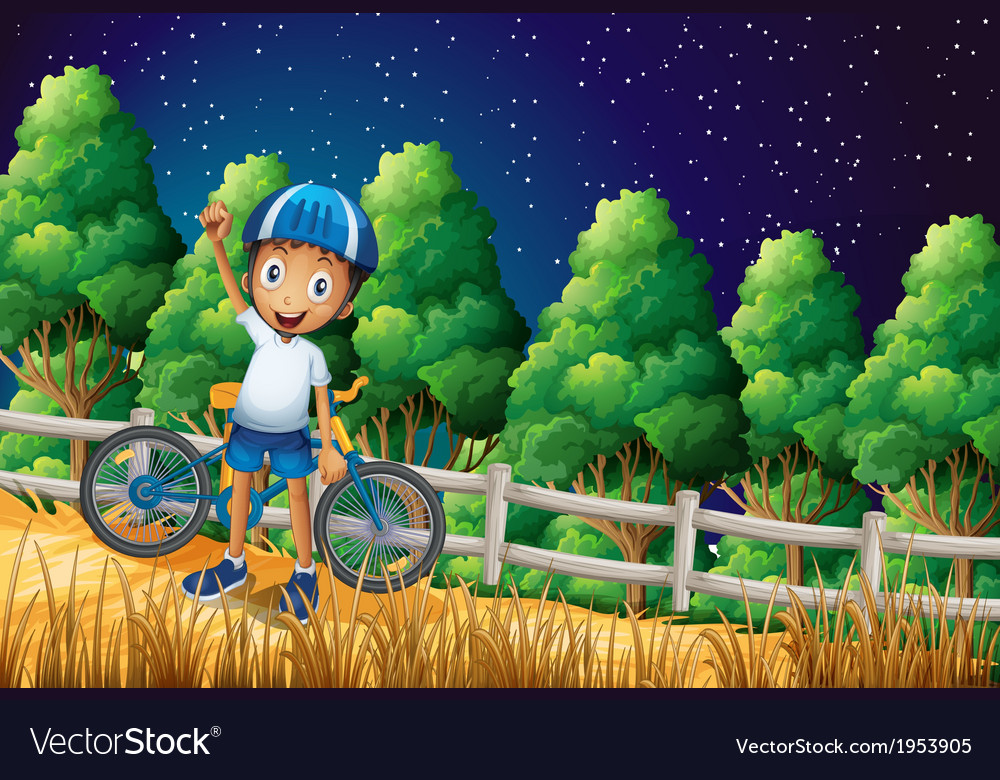 A happy boy with a bike standing at the woods near vector   Price: 3 Credit (USD $3)