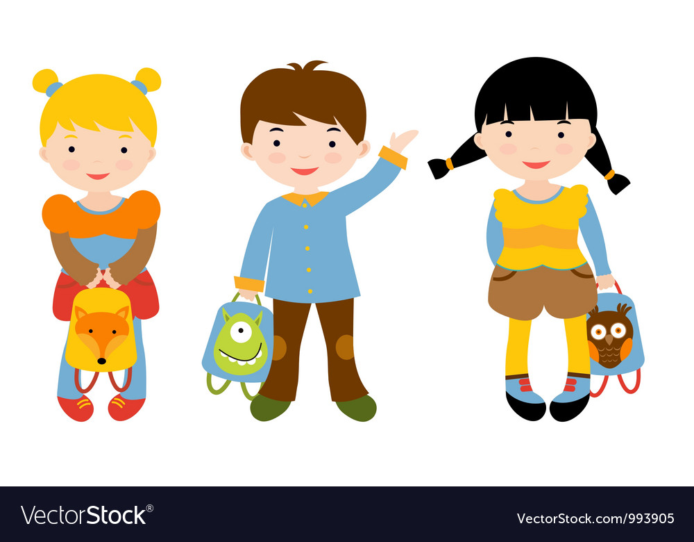 Back to school kids vector | Price: 1 Credit (USD $1)