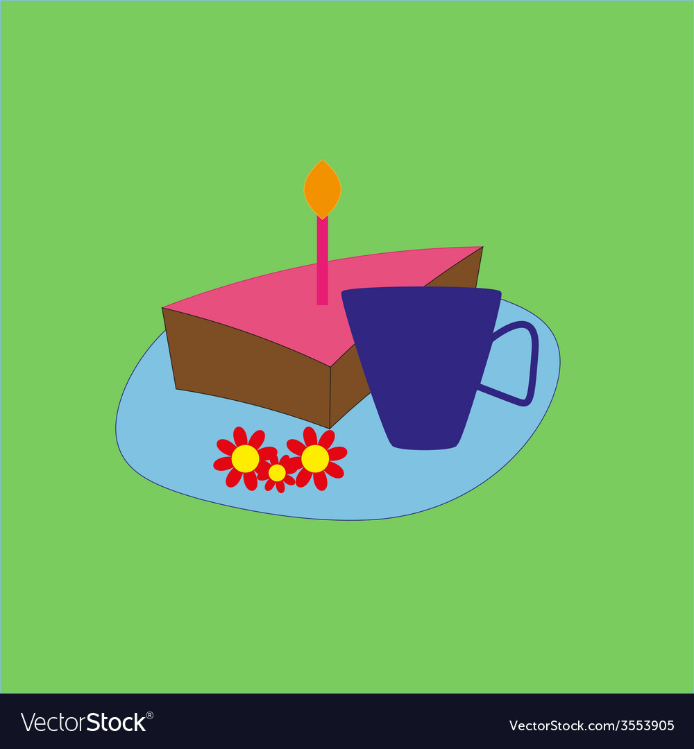 Birthday cake and tea vector | Price: 1 Credit (USD $1)