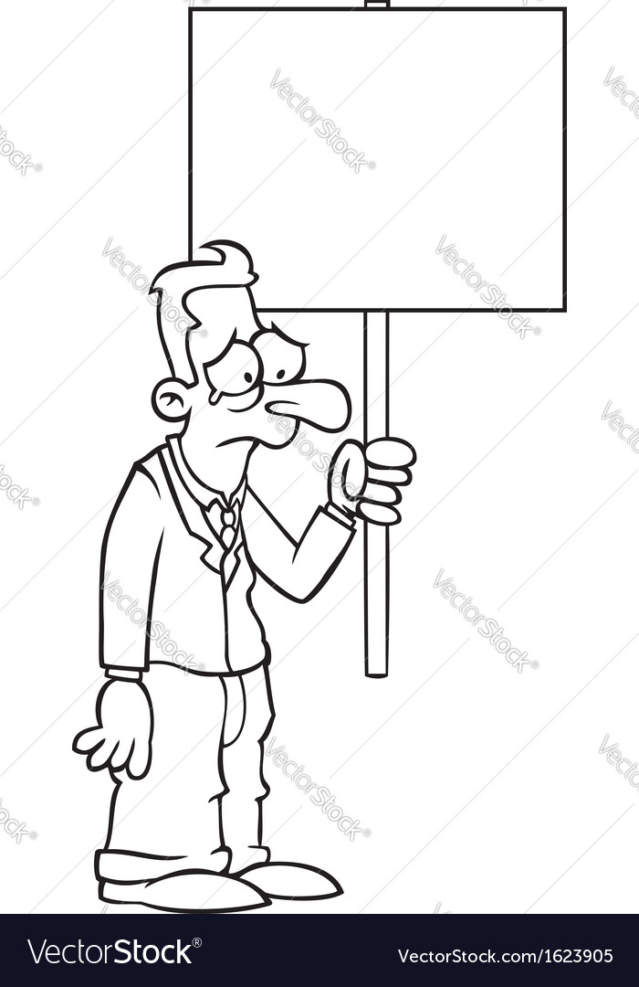Black and white sad business man with protest sign vector | Price: 1 Credit (USD $1)