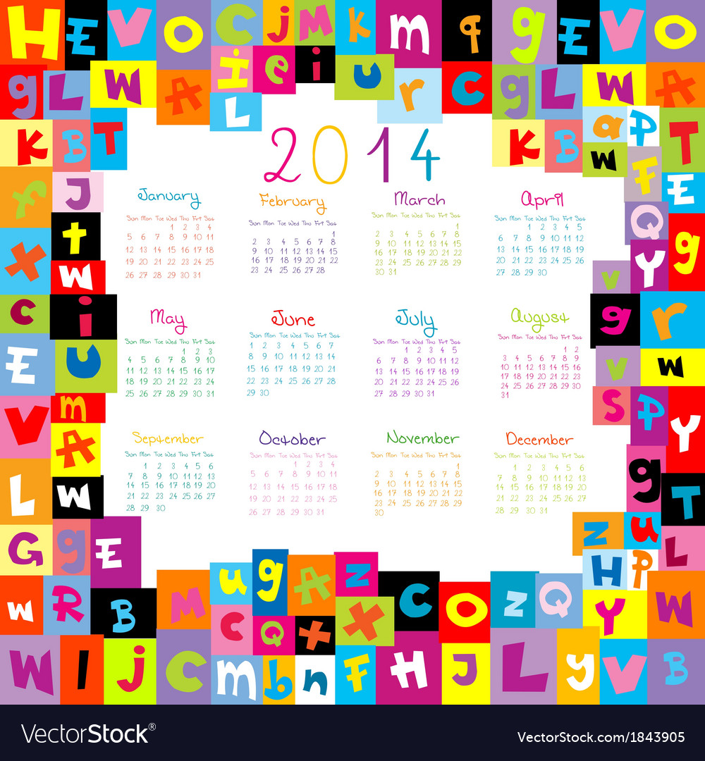 Calendar with letter border vector | Price: 1 Credit (USD $1)