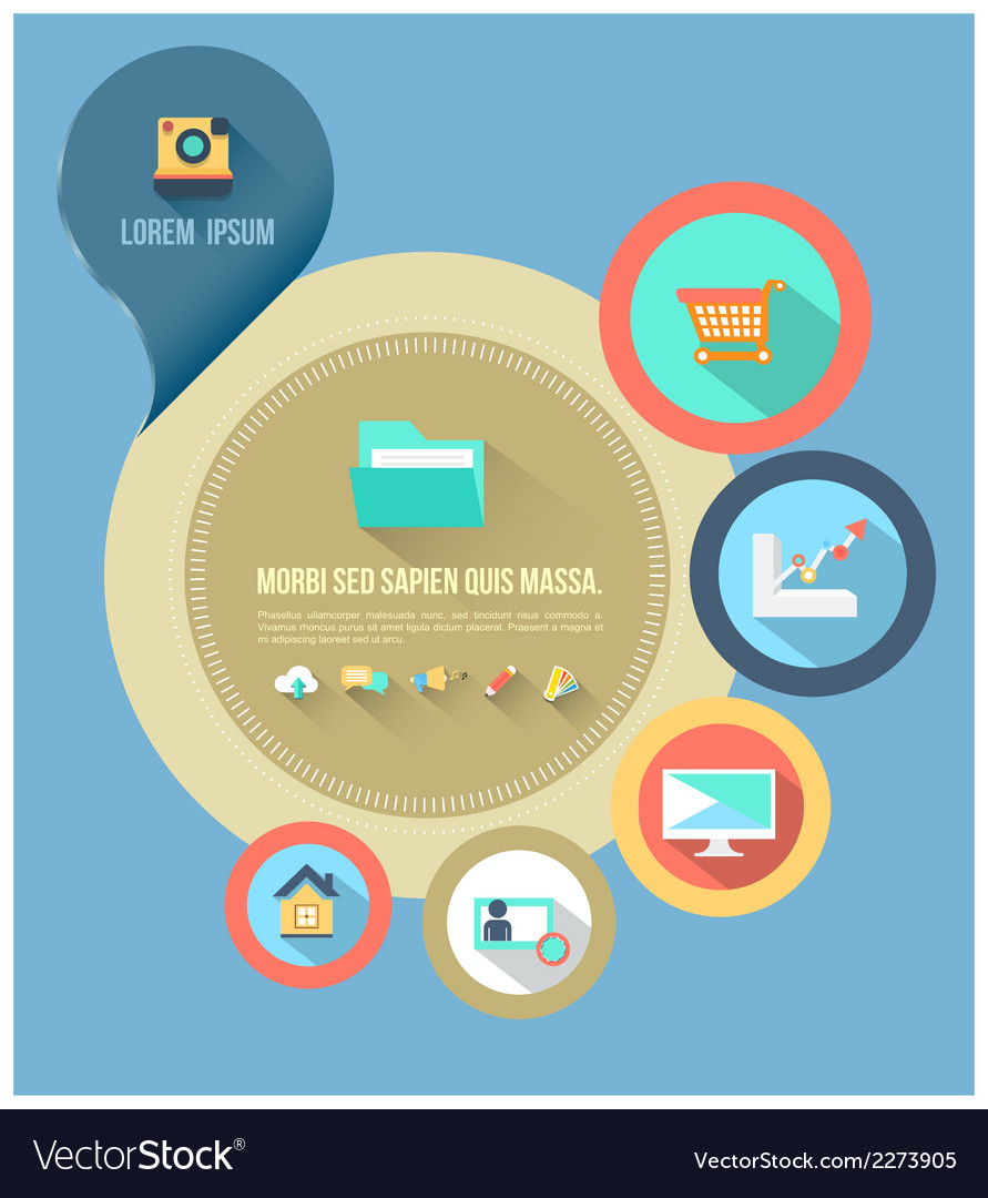 Circle template with flat icons vector   Price: 1 Credit (USD $1)