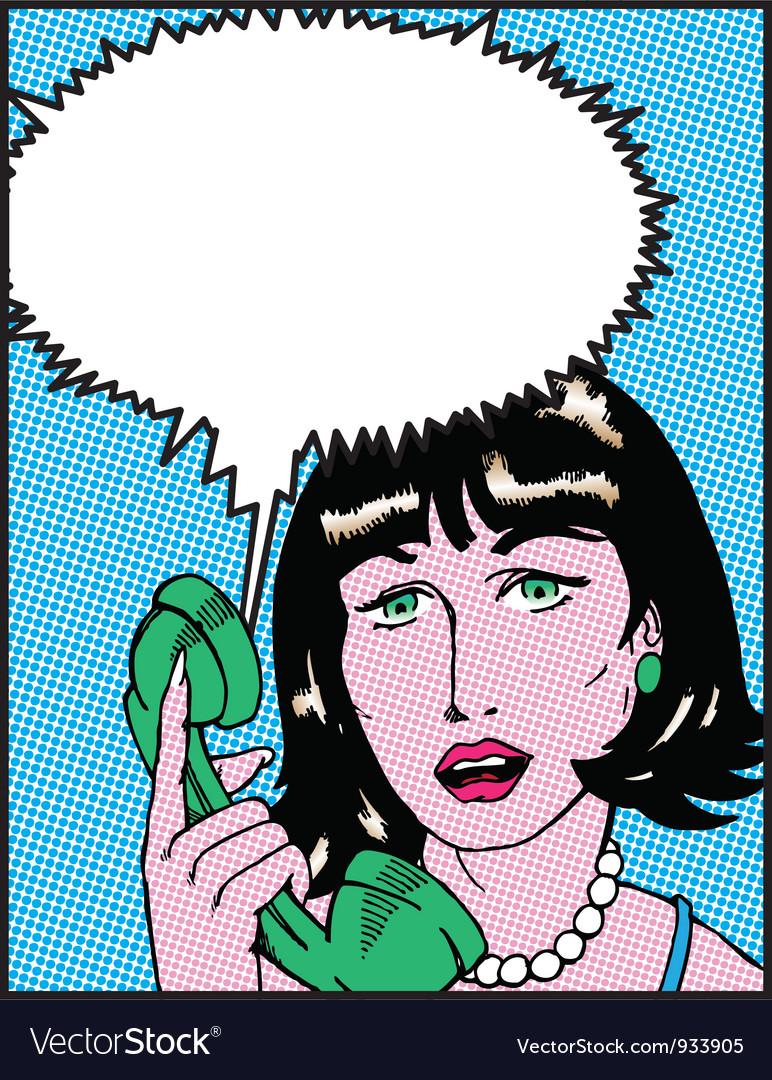 Comic woman on phone vector