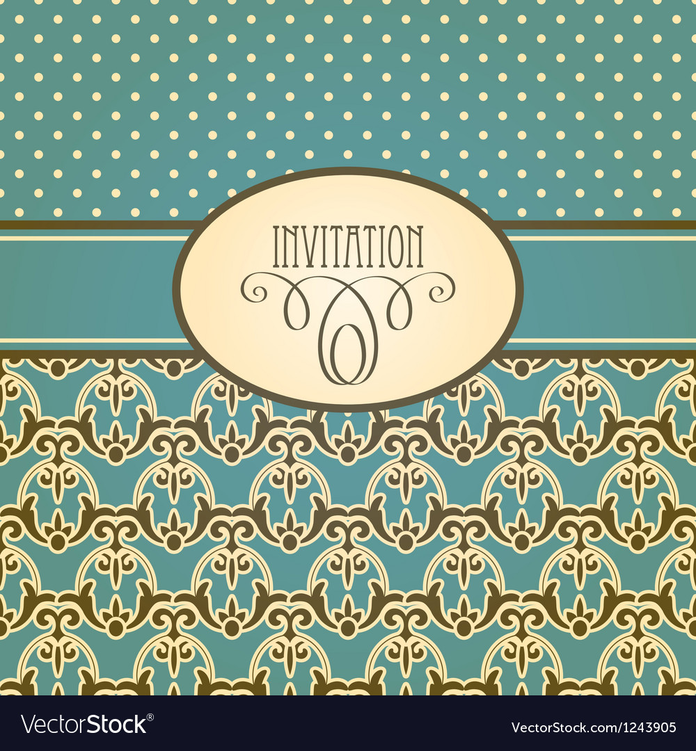 Invitation card with seamless floral wallpaper vector   Price: 1 Credit (USD $1)