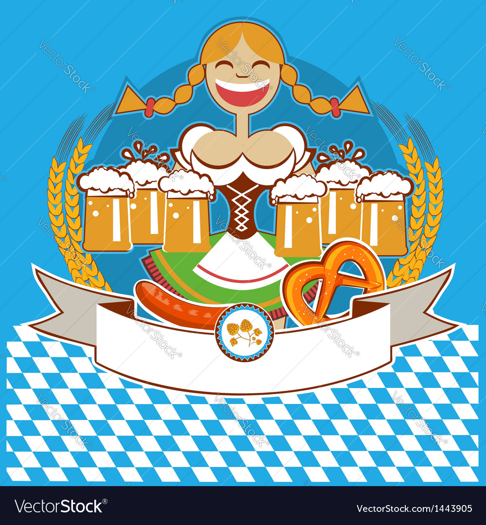 Oktoberfest symbol label with girl and beer color vector | Price: 3 Credit (USD $3)
