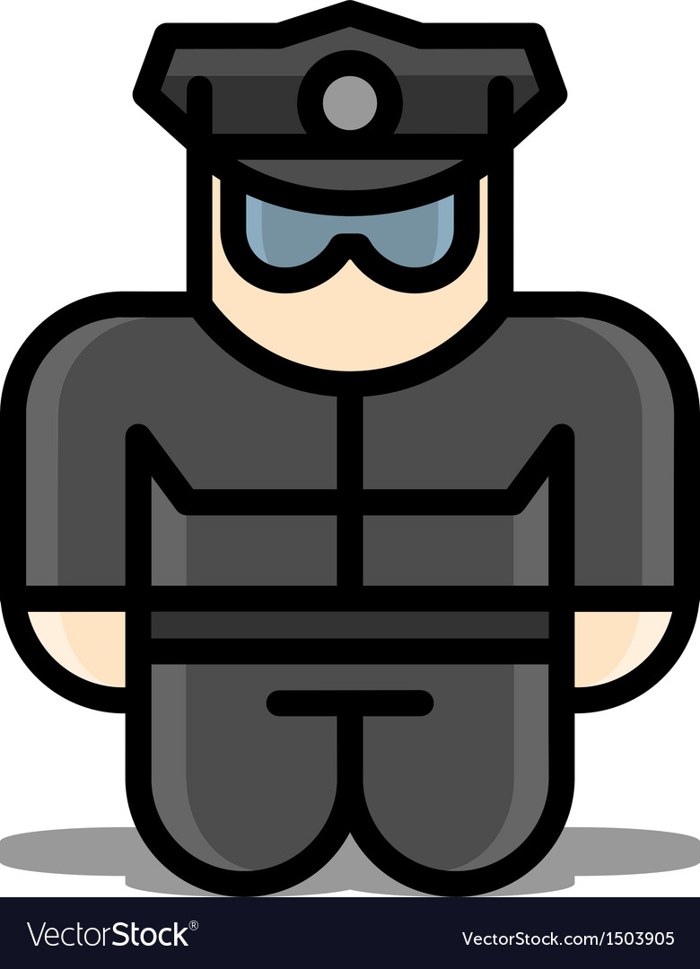 Policeman toy icons vector | Price: 1 Credit (USD $1)