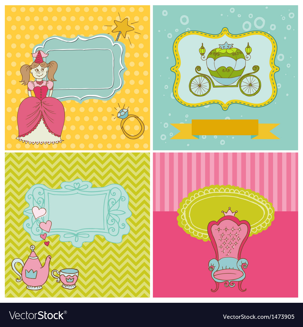 Princess girl card set vector | Price: 1 Credit (USD $1)