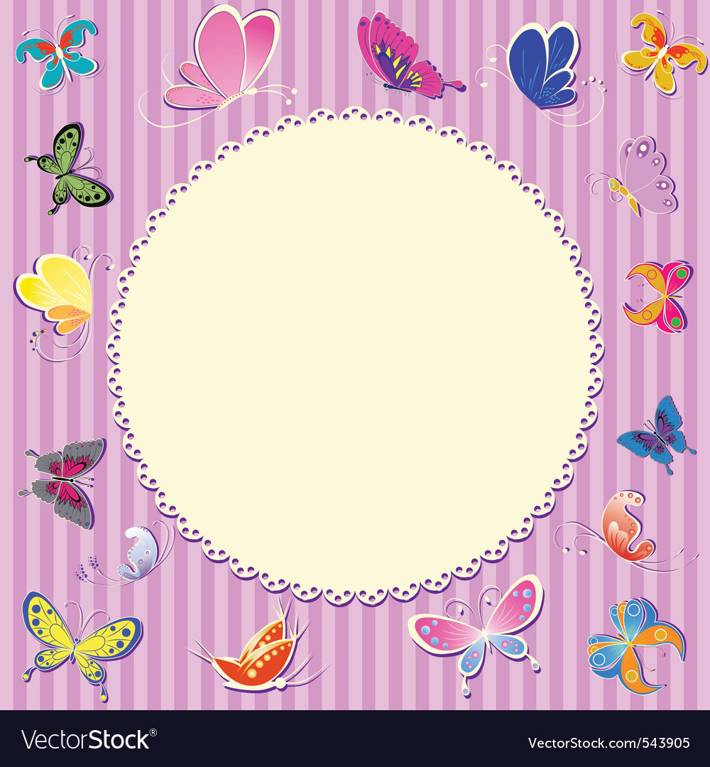 retro frame greeting vector card for baby b vector | Price: 1 Credit (USD $1)