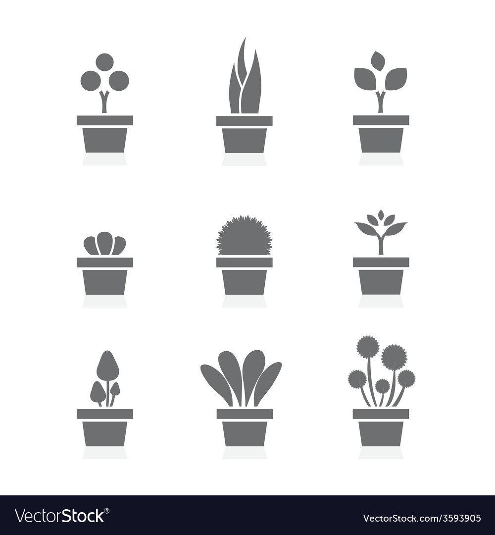 Set of pot plants black symbol vector | Price: 1 Credit (USD $1)