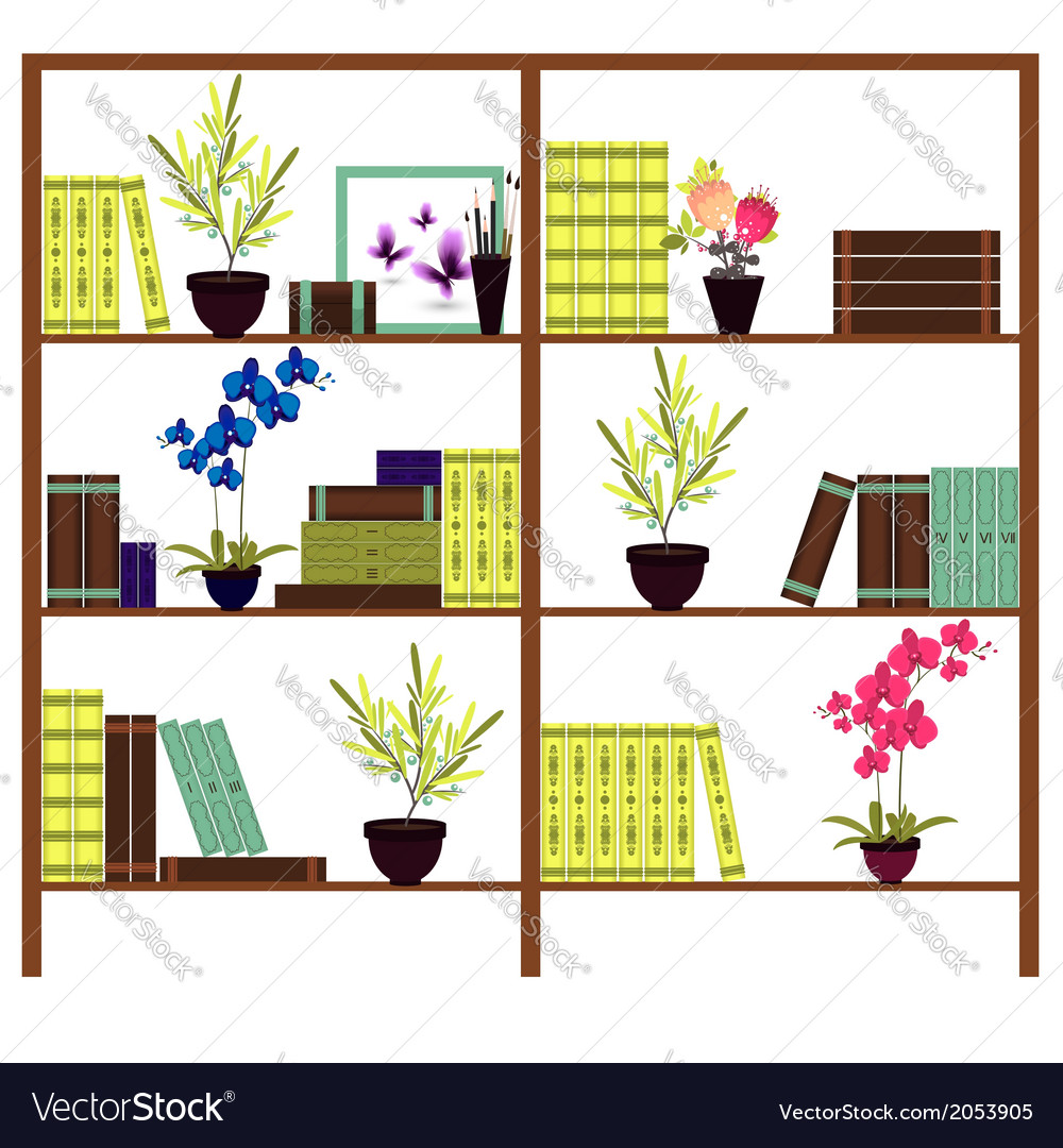 Simple bookshelves with books flowers pots vector | Price: 1 Credit (USD $1)