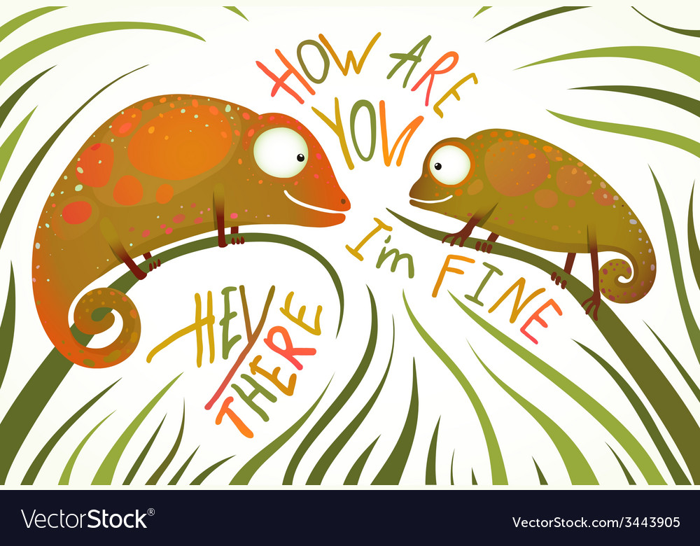 Two childish colorful lizards greeting with signs vector | Price: 1 Credit (USD $1)