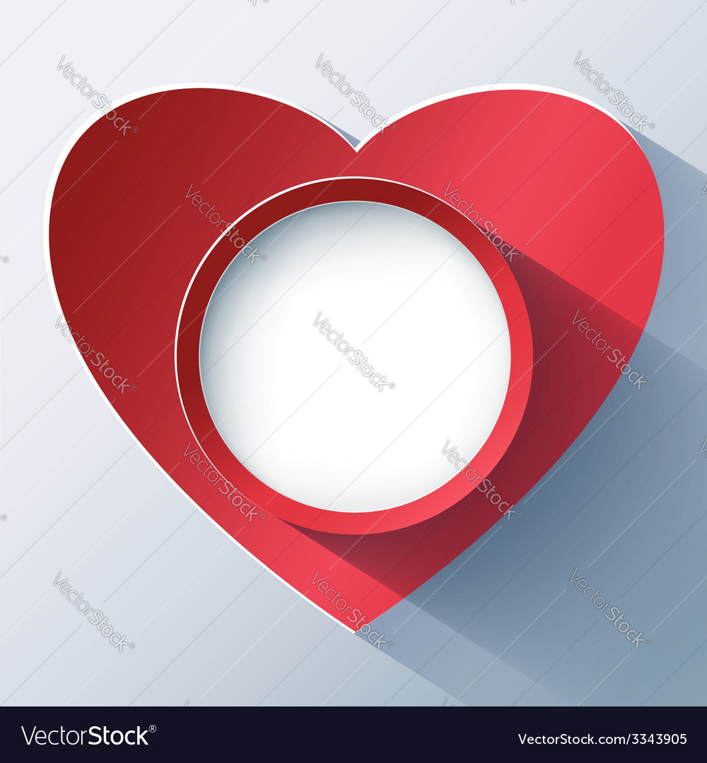 Valentines day card frame with 3d heart vector | Price: 1 Credit (USD $1)