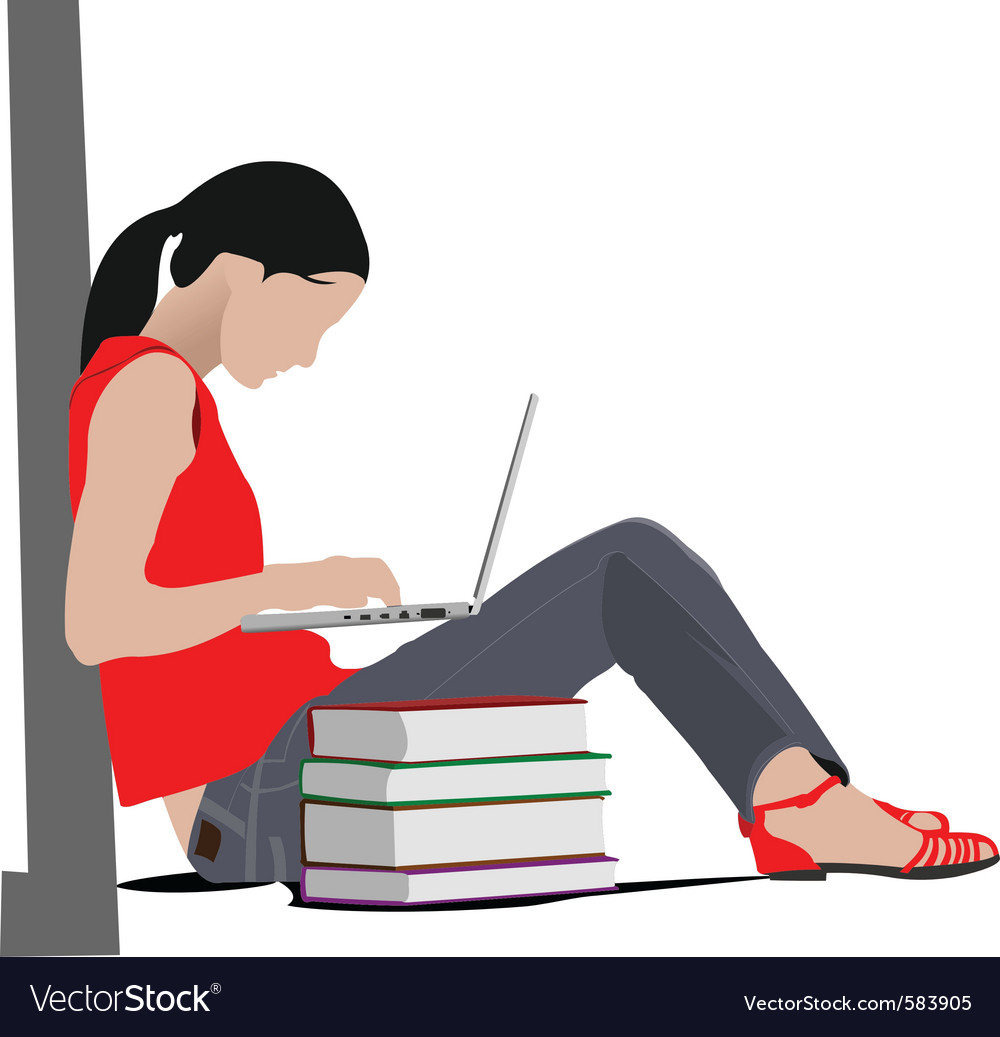 Woman studying vector | Price: 1 Credit (USD $1)