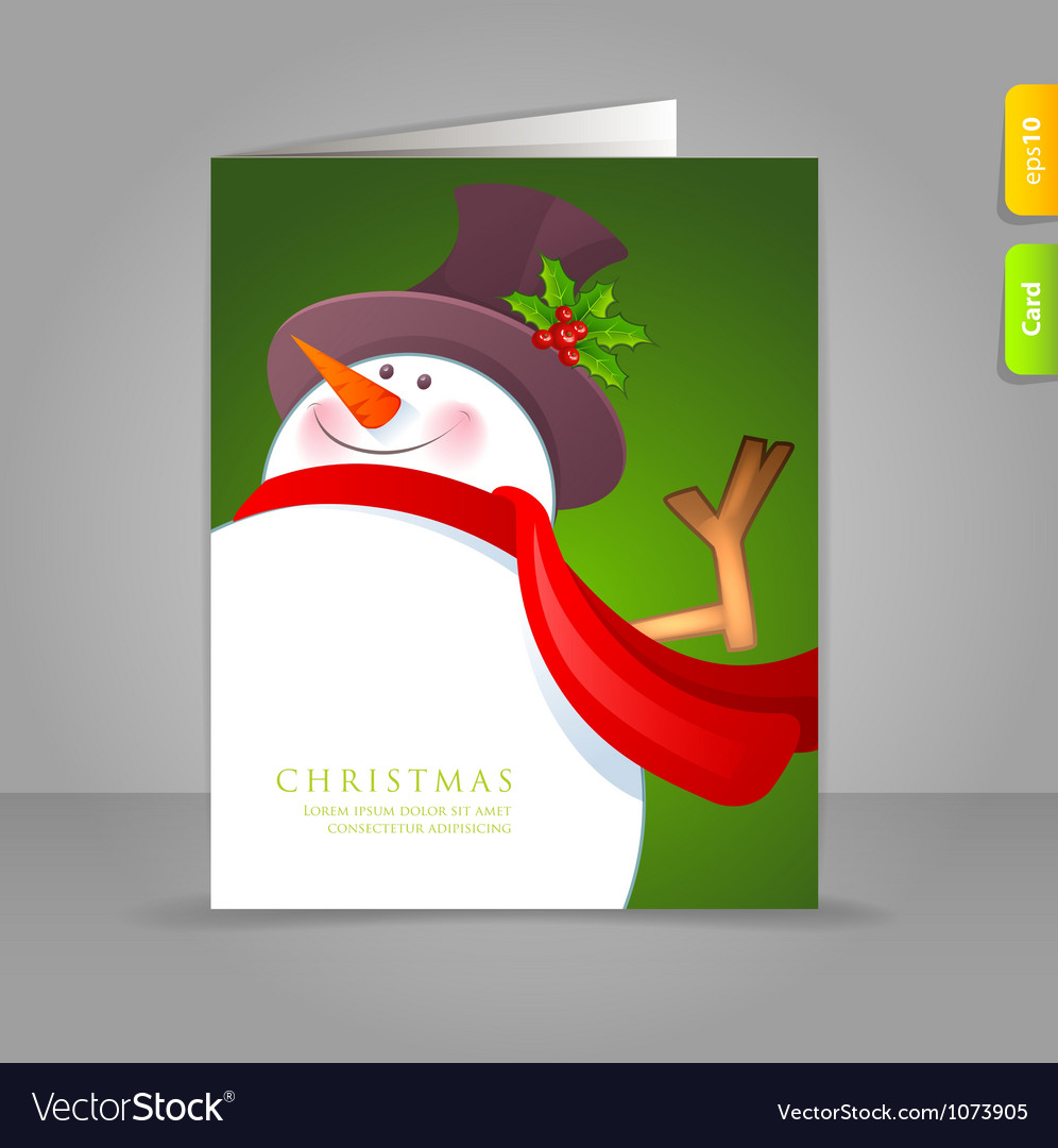 Xmas card snowman vector | Price: 1 Credit (USD $1)