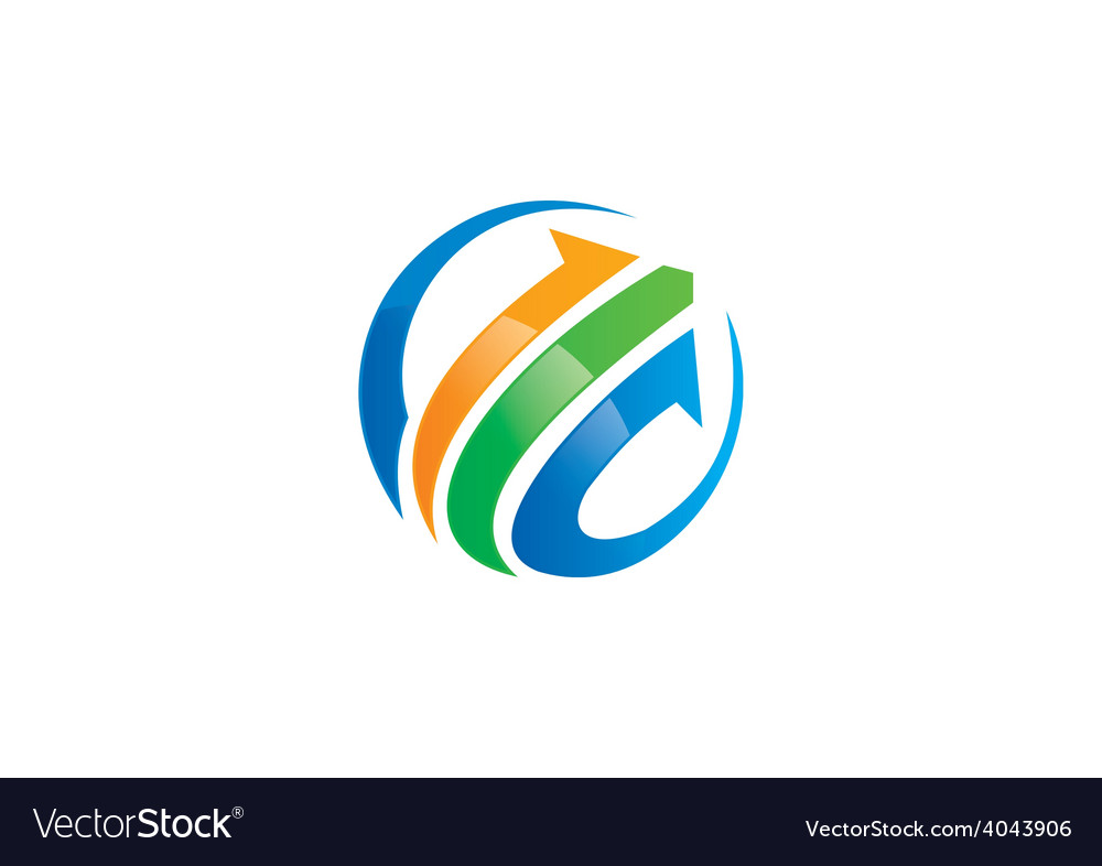 Arrow business finance globe logo vector | Price: 1 Credit (USD $1)