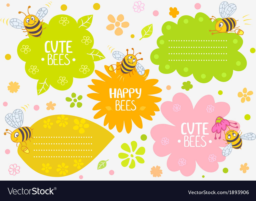 Bees cute vector | Price: 1 Credit (USD $1)