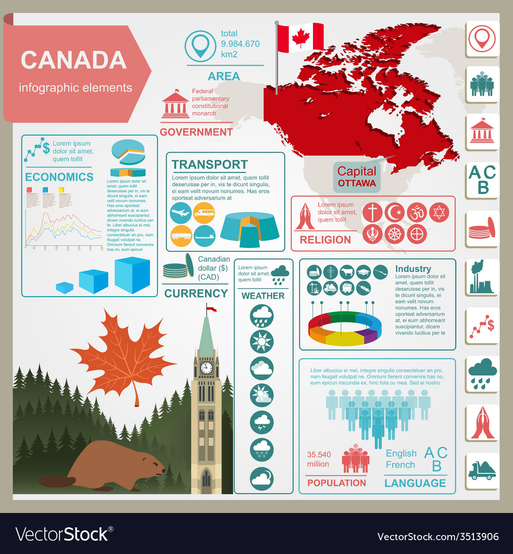 Canada infographics statistical data sights vector | Price: 1 Credit (USD $1)
