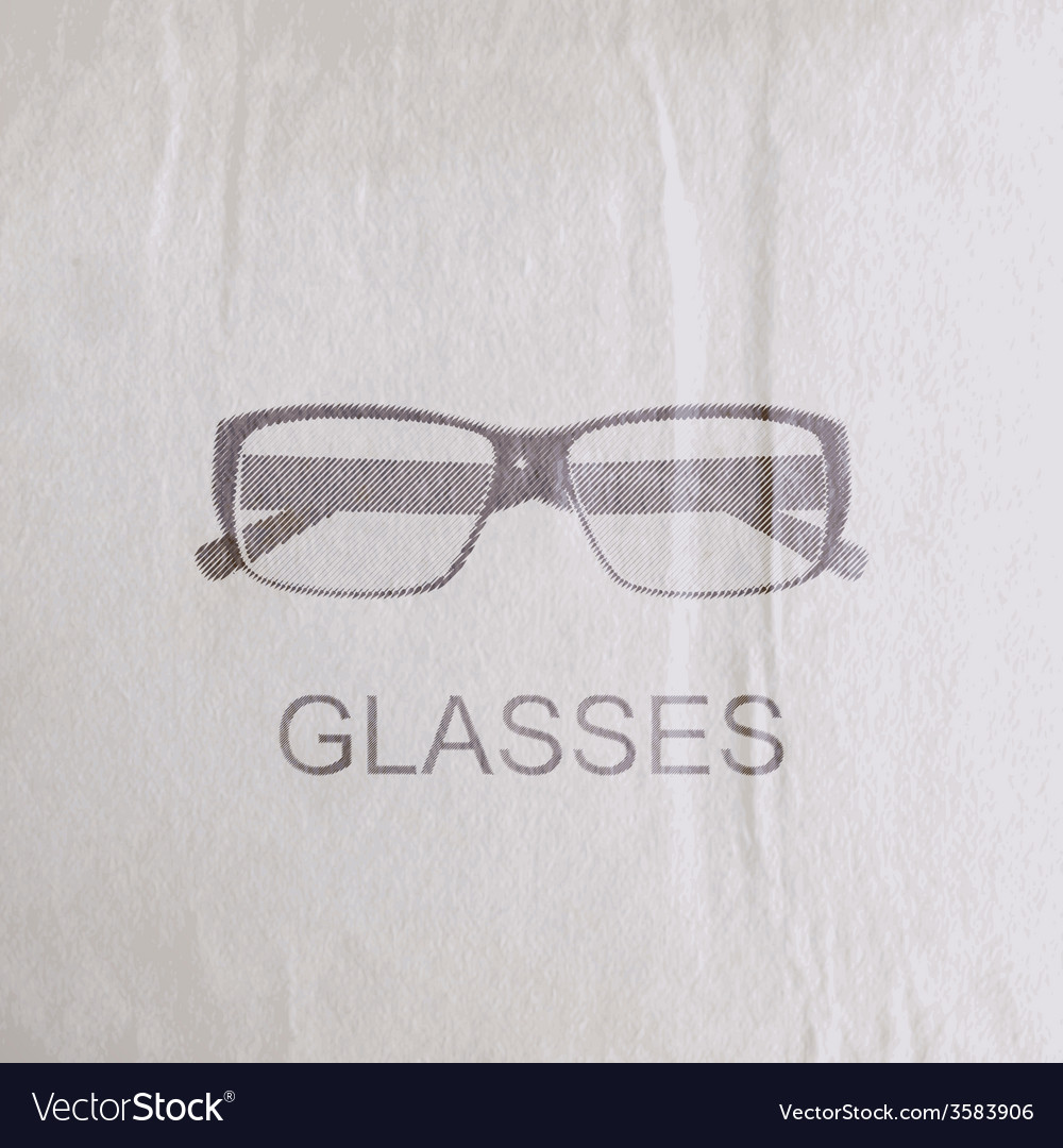 Engraving glasses on the old wrinkled paper vector | Price: 1 Credit (USD $1)