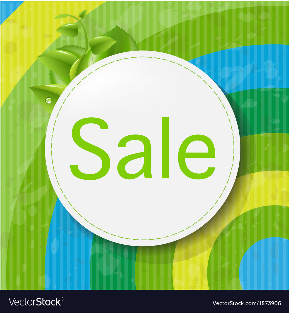 Green sale poster with color line vector | Price: 1 Credit (USD $1)