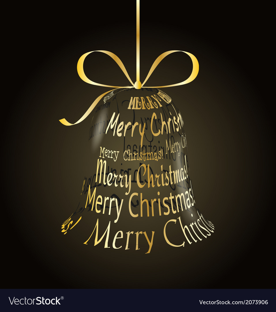 Hanging christmas bell made of merry christmas vector | Price: 1 Credit (USD $1)