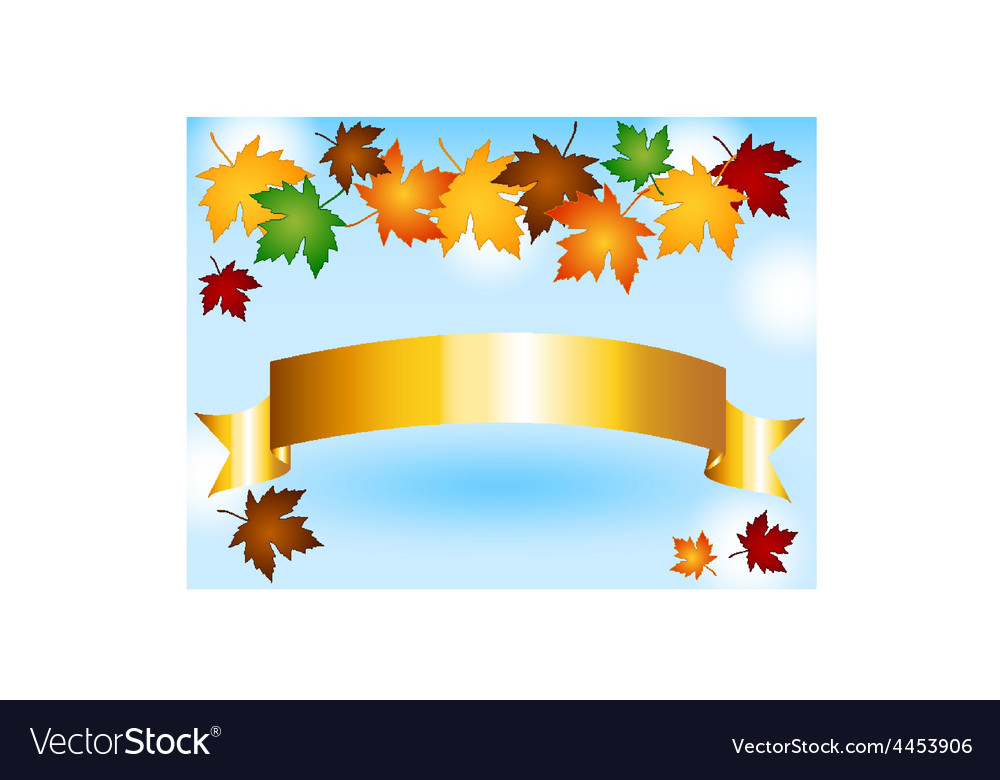 Maple leaves border with gold ribbon and sky vector | Price: 1 Credit (USD $1)