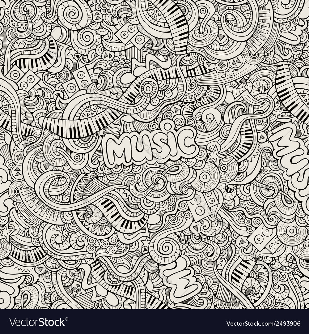 Music sketchy doodles hand-drawn vector | Price: 1 Credit (USD $1)