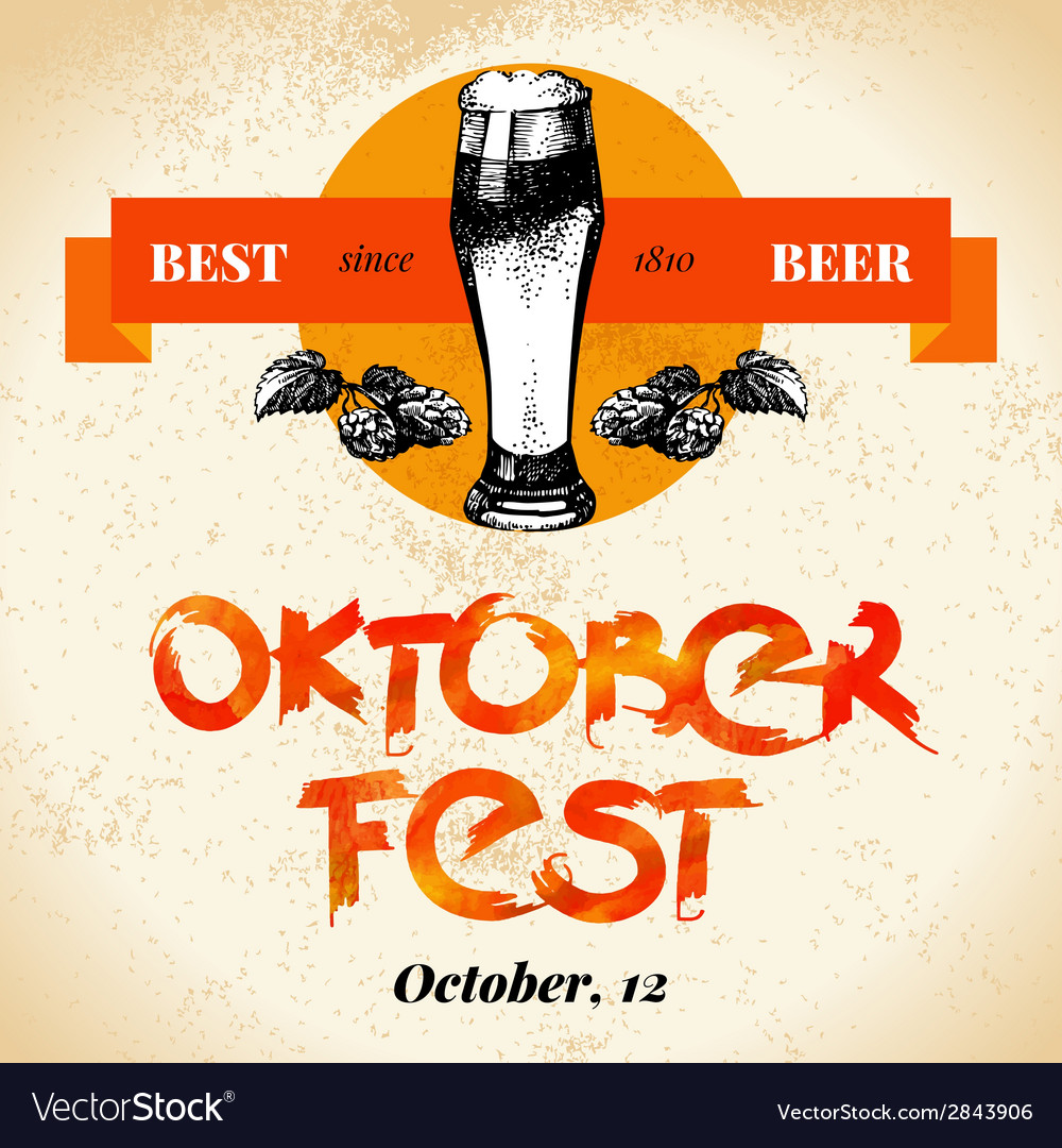Oktoberfest vintage background typographic poster vector | Price: 1 Credit (USD $1)