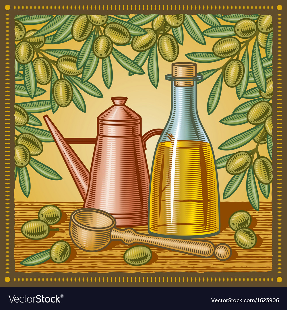 Retro olive oil still life vector | Price: 3 Credit (USD $3)