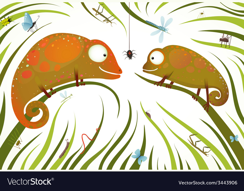Two childish colorful lizards with insects in vector | Price: 1 Credit (USD $1)