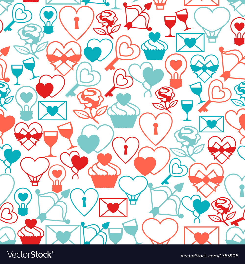 Valentines and wedding seamless pattern vector | Price: 1 Credit (USD $1)