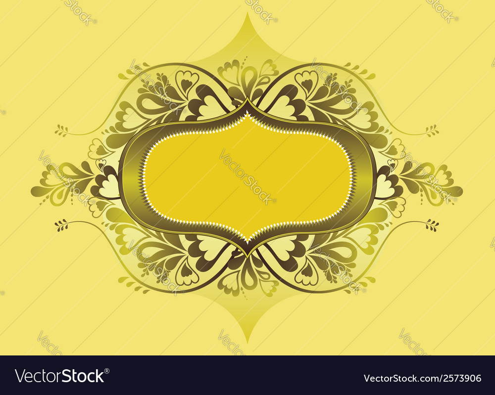 Yellow shield and lovely floral elements vector | Price: 1 Credit (USD $1)