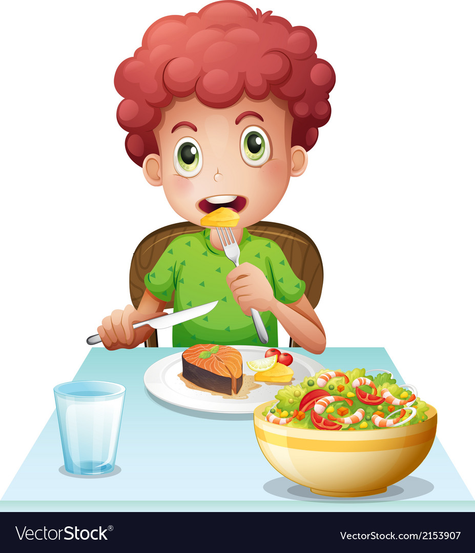 A boy eating vector | Price: 3 Credit (USD $3)