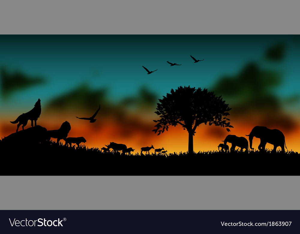 African and animals background vector | Price: 3 Credit (USD $3)