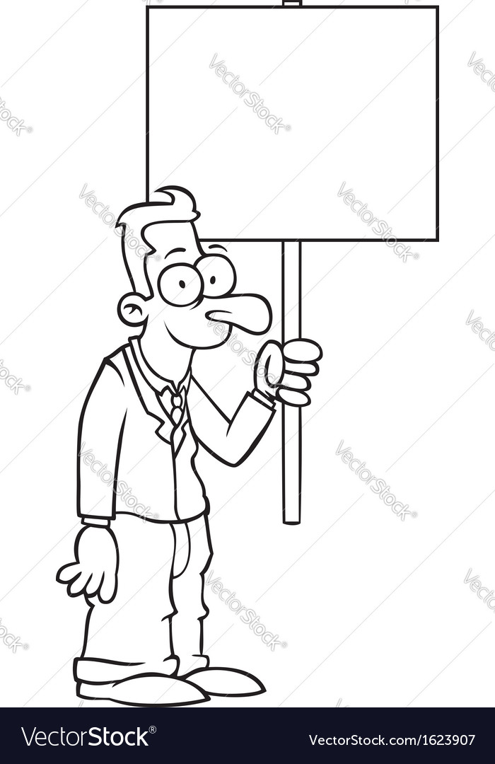 Black and white happy business man with sign vector | Price: 1 Credit (USD $1)