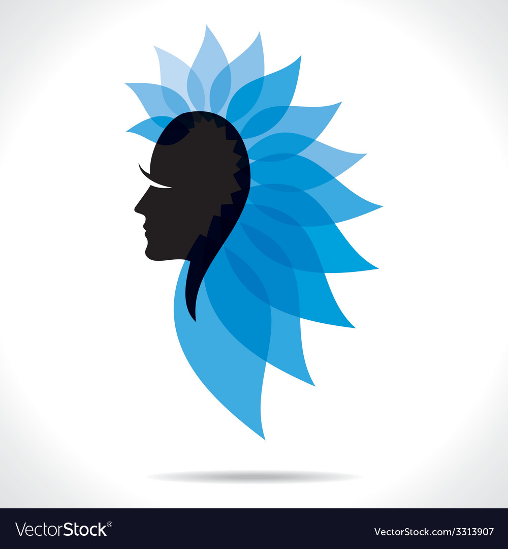Blue leaf women head vector | Price: 1 Credit (USD $1)