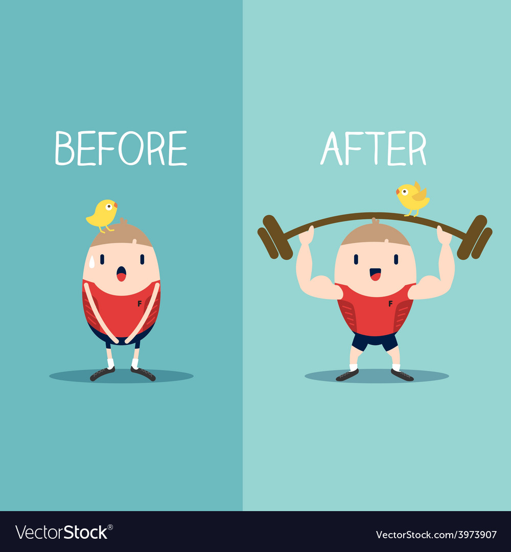 Bodybuilder with barbell before and after concept vector | Price: 1 Credit (USD $1)