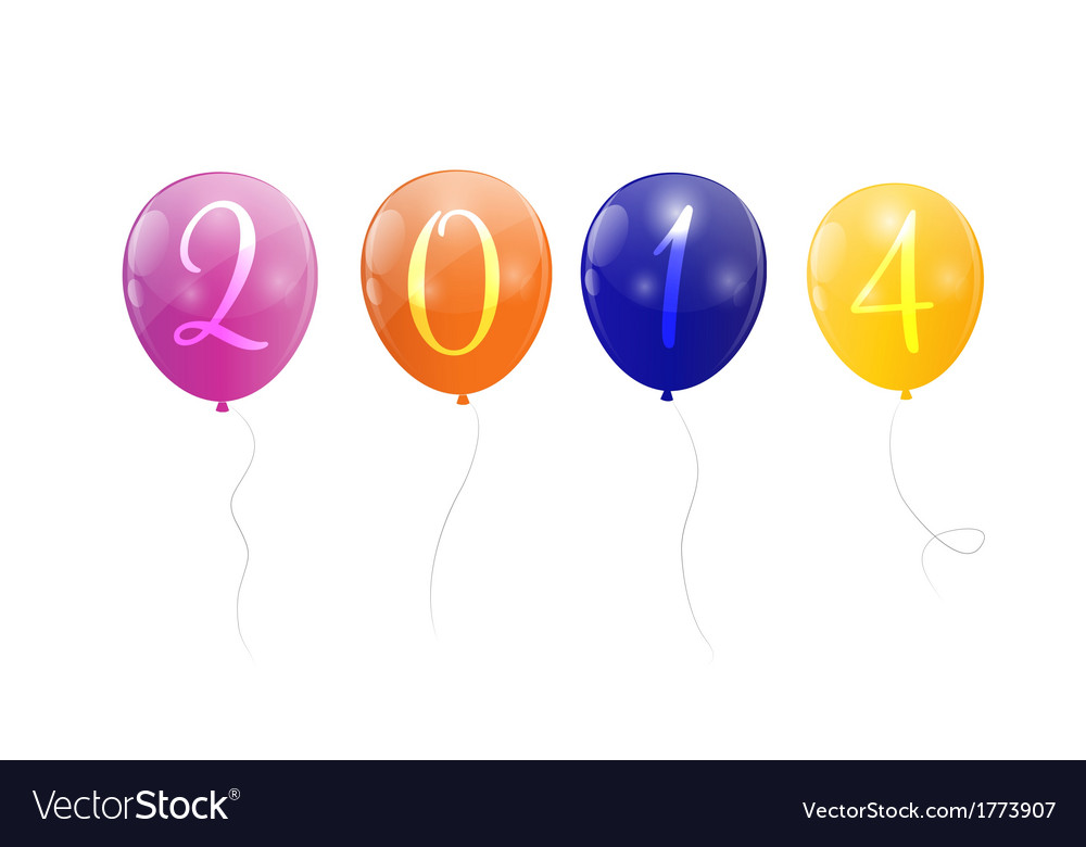 Color glossy balloons 2014 new year background vector | Price: 1 Credit (USD $1)