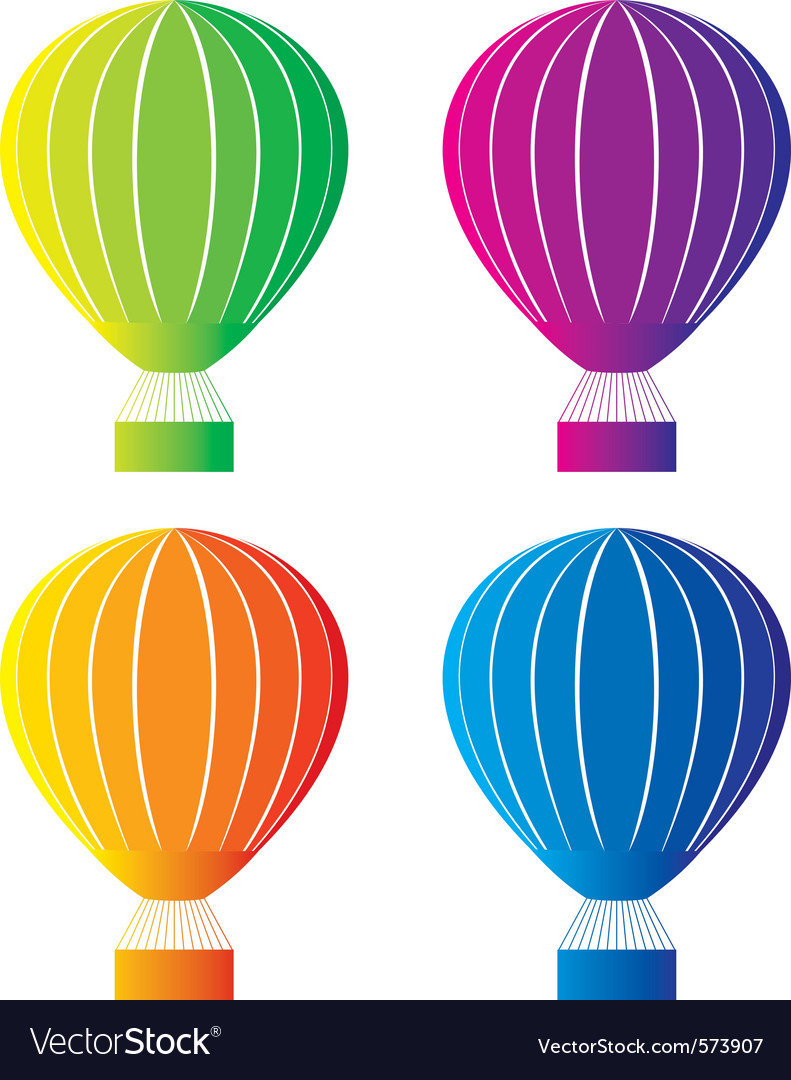 Color hot air balloon vector | Price: 1 Credit (USD $1)