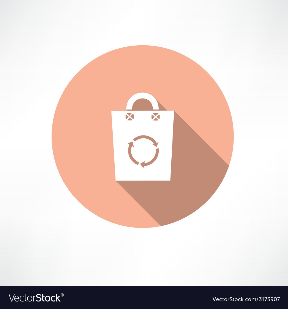 Eco bag with cycle icon vector | Price: 1 Credit (USD $1)