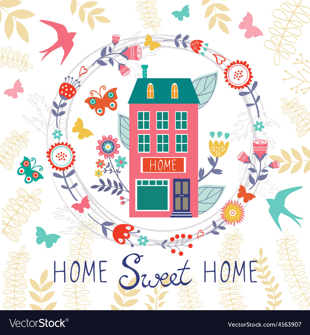 Home sweet home card with floral wreath vector | Price: 1 Credit (USD $1)