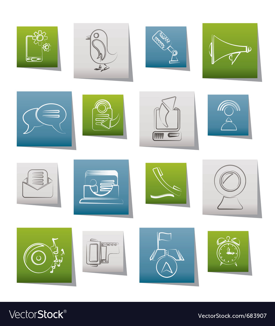 Mobile phone and communication icons vector   Price: 1 Credit (USD $1)