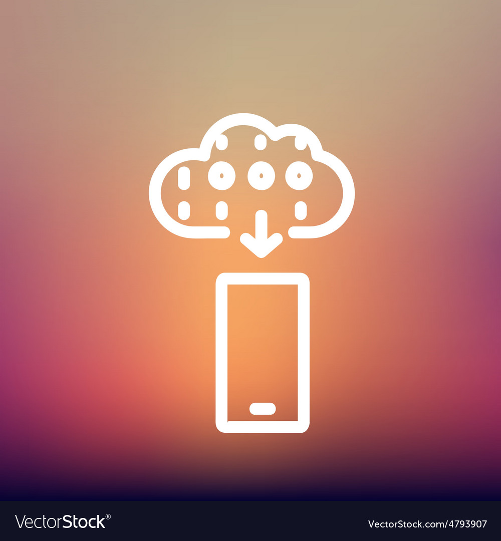 Mobile phone with weather forecast thin line icon vector   Price: 1 Credit (USD $1)
