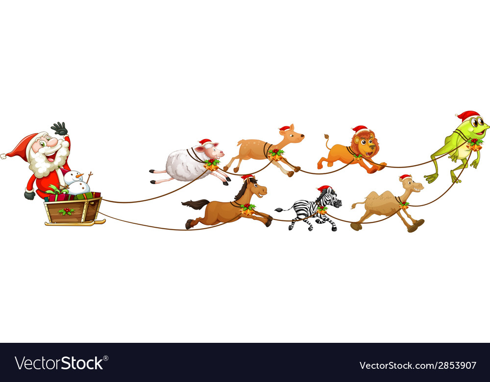 Santa and animals vector | Price: 3 Credit (USD $3)