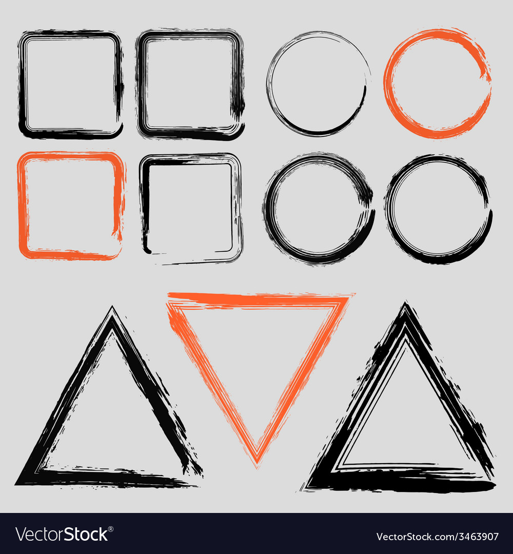 Set of grunge charcoal frames of different shapes vector | Price: 1 Credit (USD $1)