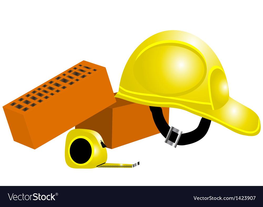 Tape measure helmet bricks vector | Price: 1 Credit (USD $1)
